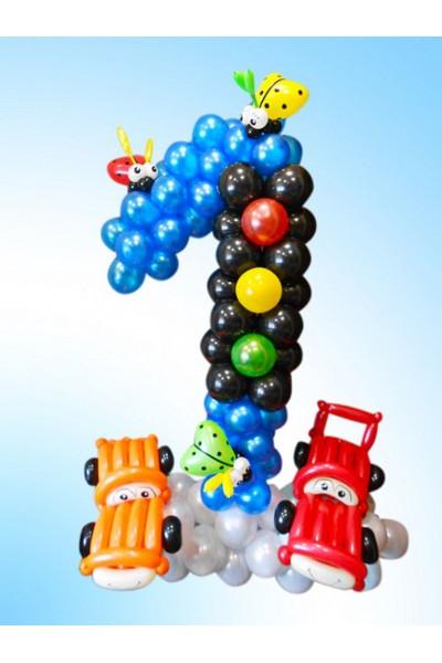 """Фигура из шариков """"Циферка 1 для автолюбителя"""""""
