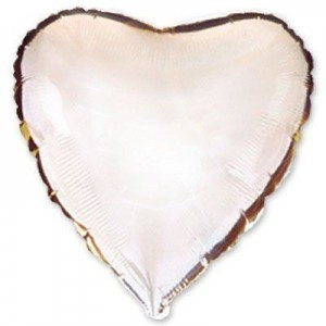 Фольгированное сердце серебряное 80 см