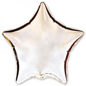 Фольгированная звезда серебряная 80 см