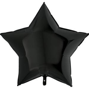 Фольгированная звезда черная 90 см