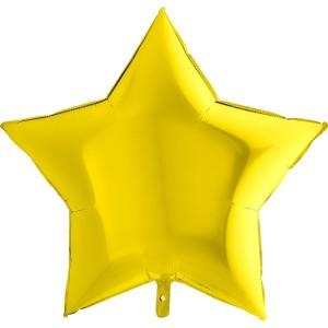Фольгированная звезда желтая 90 см