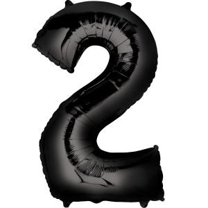 Черная фольгированная цифра 2