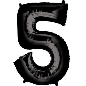 Черная фольгированная цифра 5