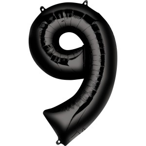 Черная фольгированная цифра 9