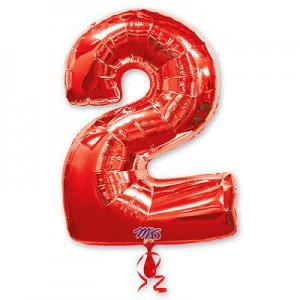 Красная фольгированная цифра 2