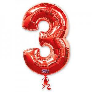 Красная фольгированная цифра 3