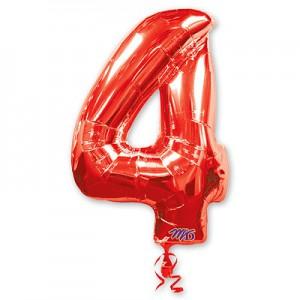 Красная фольгированная цифра 4