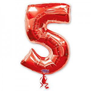 Красная фольгированная цифра 5