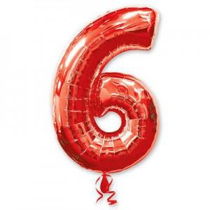 Красная фольгированная цифра 6