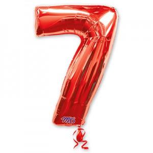 Красная фольгированная цифра 7