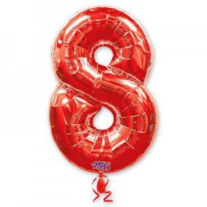 Красная фольгированная цифра 8