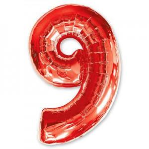 Красная фольгированная цифра 9