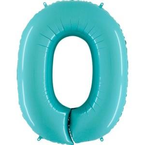 Цифра 0 пастель аквамарин
