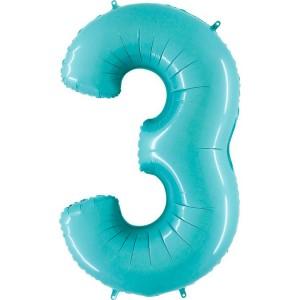Цифра 3 пастель аквамарин
