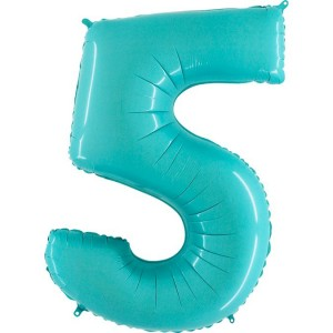 Цифра 5 пастель аквамарин