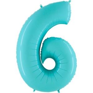 Цифра 6 пастель аквамарин
