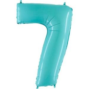 Цифра 7 пастель аквамарин