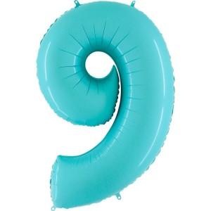 Цифра 9 пастель аквамарин