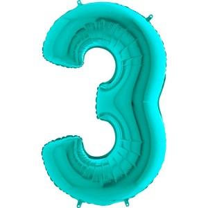 Цифра 3 металлик тиффани