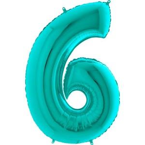 Цифра 6 металлик тиффани