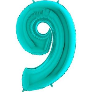 Цифра 9 металлик тиффани
