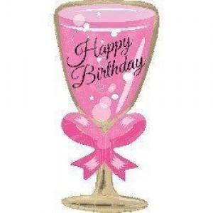 Фольгированный шарик для Дня рождения Розовый бокал