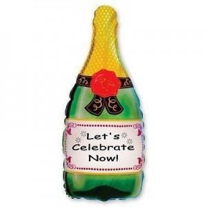 Фольгированный шарик для Дня рождения Бутылка шампанского FM