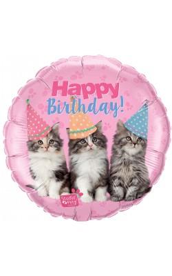 Фольгированный шарик Happy Birthday домашние животные котята