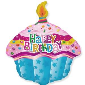Фольгированный шарик для Дня рождения Кекс со свечой