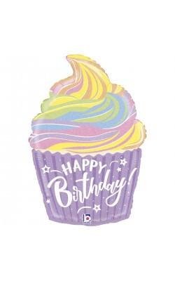 Фольгированный шарик для Дня рождения Кекс сверкающий