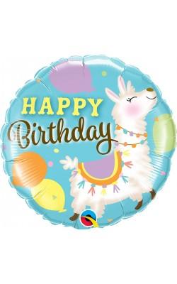 Фольгированный шарик Happy Birthday лама