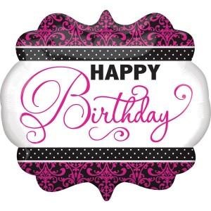Фольгированный шарик для Дня рождения вензель розовый
