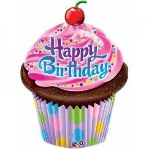 Фольгированный шарик для Дня рождения Кекс в розовой глазуры