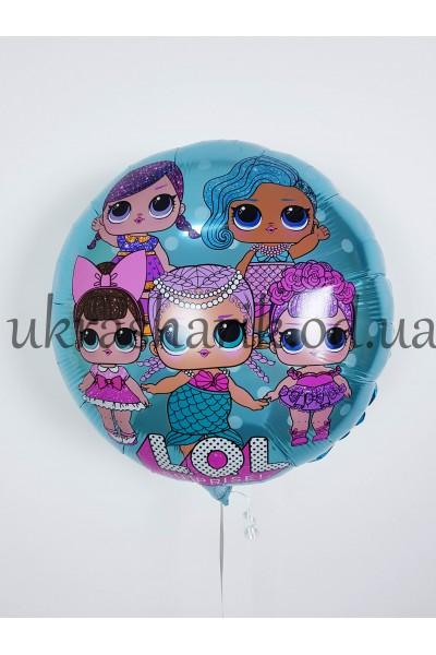 """Фольгированный шарик 18"""" (45 см)  Круг Лол куклы голубой"""