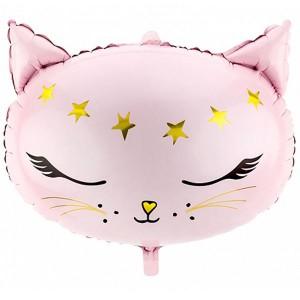 Кошечка со звездами фольгированный шарик