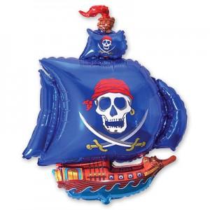 Фольгированный шар пиратский корабль синий