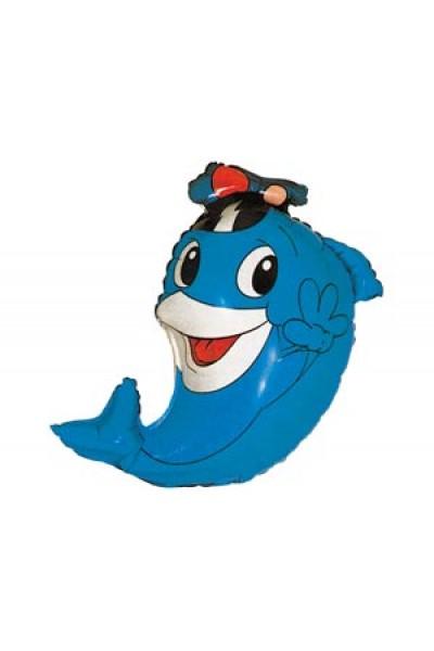 """Фольгированный шарик """"Дельфин капитан"""""""