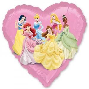 """Фольгированный шарик 18"""" сердечко Принцессы"""