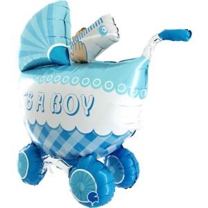 Коляска голубая Gb фольгированный шарик
