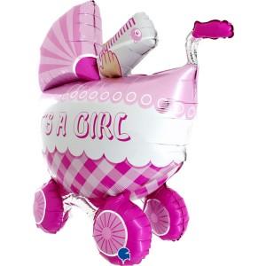 Коляска розовая Gb фольгированный шарик
