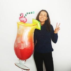 Фольгированный шарик Коктейль фламинго