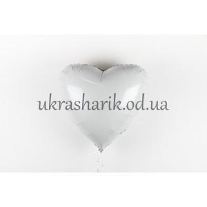 Фольгированное сердечко белое