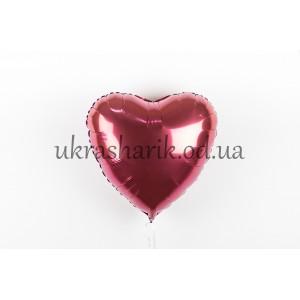 Фольгированное сердечко бордовое