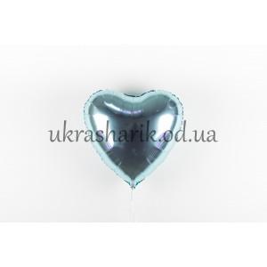 Фольгированное сердечко голубой металлик
