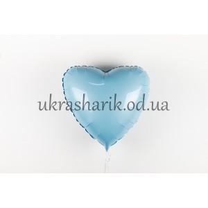 Фольгированное сердечко голубого цвета