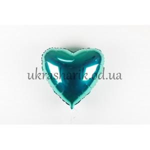 Фольгированное сердечко изумрудного цвета