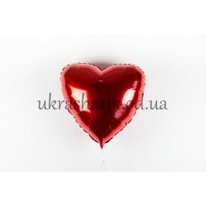Фольгированное сердечко красное