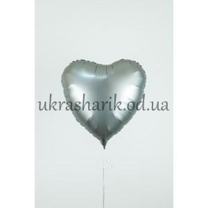 Фольгированное сердечко белое золото сатин