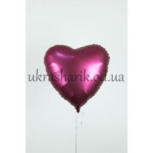 Фольгированное сердечко бургундия сатин
