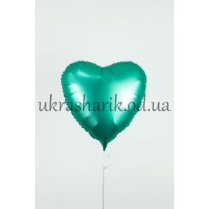 Фольгированное сердечко изумрудное сатин